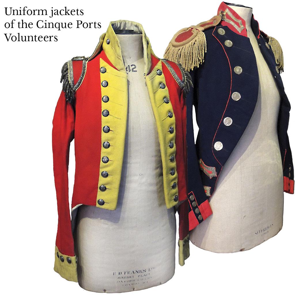 History of rye, rye castle museum, rye history, historical artefact, east street museum rye, Uniform jackets of the cinque ports volunteers, historical uniforms, east street rye