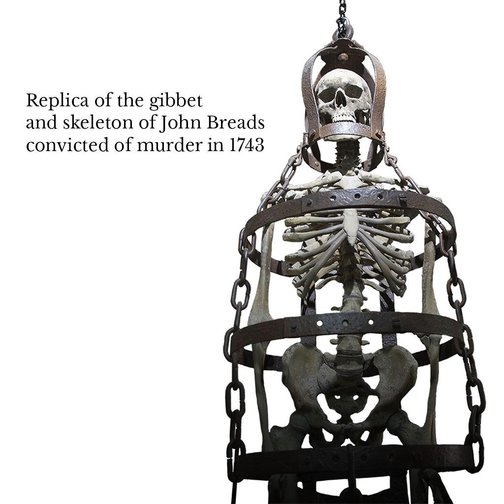 History of rye, rye castle museum, rye history, historical artefact, east street museum rye, ancient skeleton, medieval skeleton, medieval gibbet, john breads skeleton, murder in 1743, medieval history